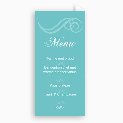 Menukaart communieviering - Turquoise en bruidsuiker 9974 thumb