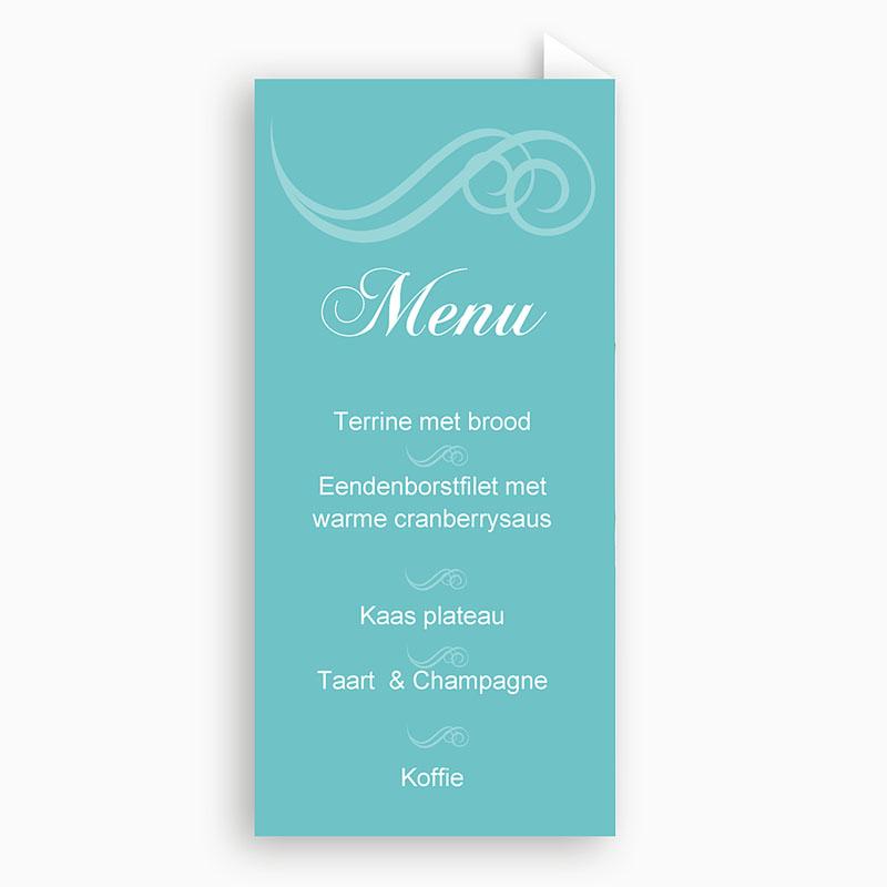 Menukaarten Communie Turquoise en bruidsuiker pas cher