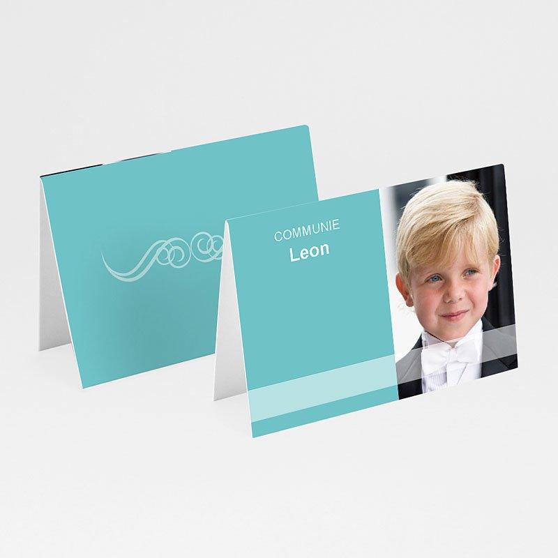 Tafelkaartjes Communie Turquoise en bruidsuiker