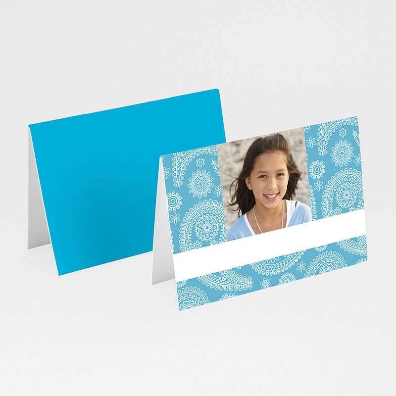 Plaatskaartjes Communie Paisley blauw