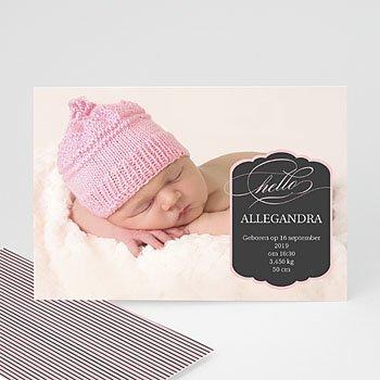Geboortekaartje meisje - Roze ster en strepen - 1