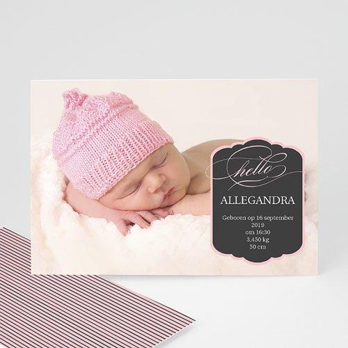 Geboortekaartje meisje - Roze ster en strepen 9993 thumb