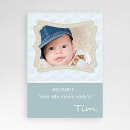 Bedankkaart doopviering jongen Doop met blauw